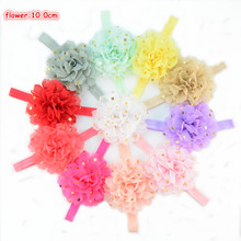 Wholesale 50pcs/lot Elastic Ribbon Headband with 10.0cm Gold Polka Dot Chiffon Flower Girl Photo Props 26 Color Available FD229