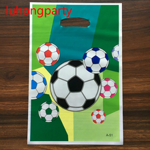 10pcs 25*15cm football theme gift bag for kids birthday party decoration supplies plastic gift bag