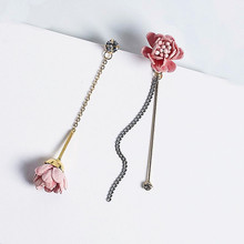Ethnic Pink Flower Long Earrings For Women Bijoux New Fashion Jewelry Wholesale AB Earring Cute Gift