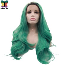 "HAIR SW Long Natural Wave Synthetic Lace Front Wig Ombre Green With Black Roots Glueless Part Hand-tied 2"" Space Wig For Women(China)"