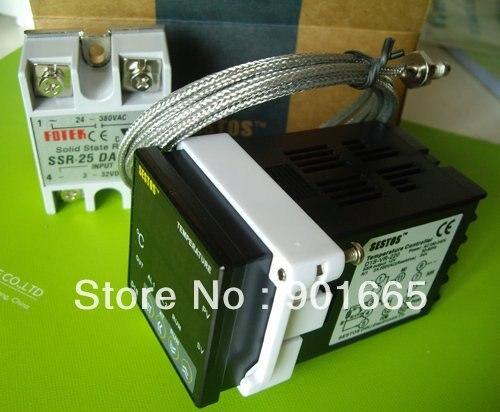 Sestos Dual Digital PID Temperature Controller 2 Omron Relay Output Black D1S-VR-220 + K Sensor + 25A DA SSR thermostat<br>