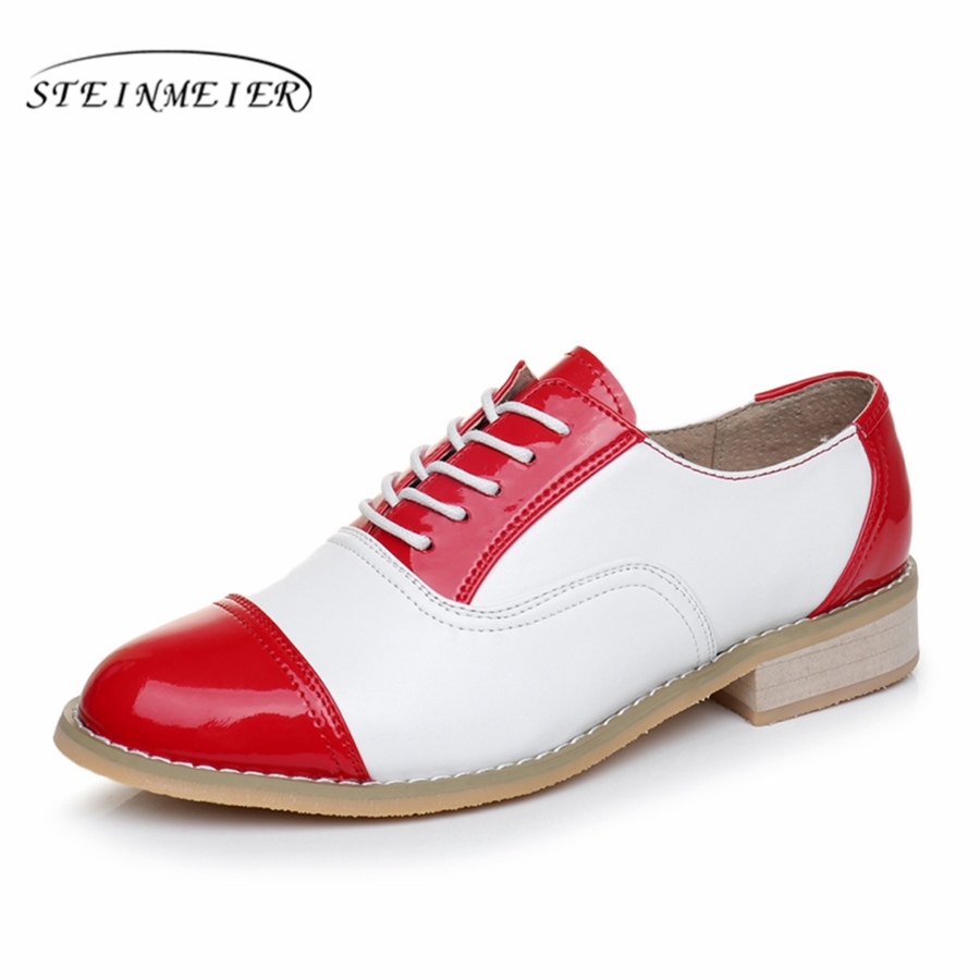 2017 woman vintage flat oxford shoes round toe genuine leather US 10 handmade lace up brown black white oxford shoes for women<br>