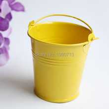 Free Shipping 20 X Yellow Mini Wedding Candy Buckets Party Favor Pails Metal Buckets Wedding Candy Box(China)