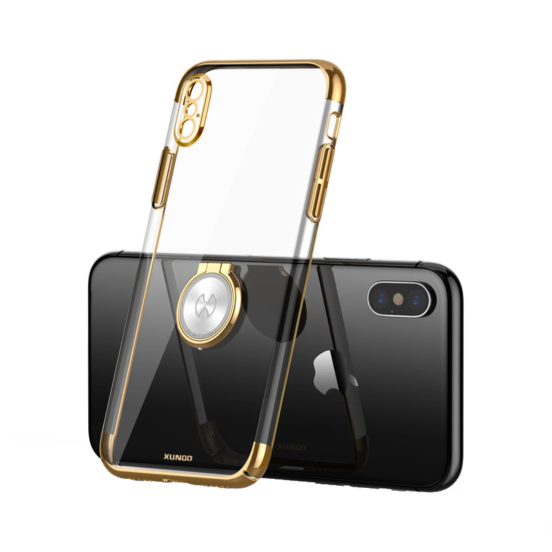 Luxury Clear Ring Holder Case For iphone X 10 Xundd Hard PC back Cover For iphone X case capa work with Magnetic car holder 9
