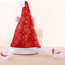 2015 gold velvet hat snowflake Printing gold leaves snow bell mixed hair non-woven festival rave Santa Claus Christmas hats 48cm