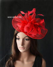 NEW RED Big Sinamay fascinator hat with feather flowers for melbourne cup,ascot races, kentucky derby wedding.