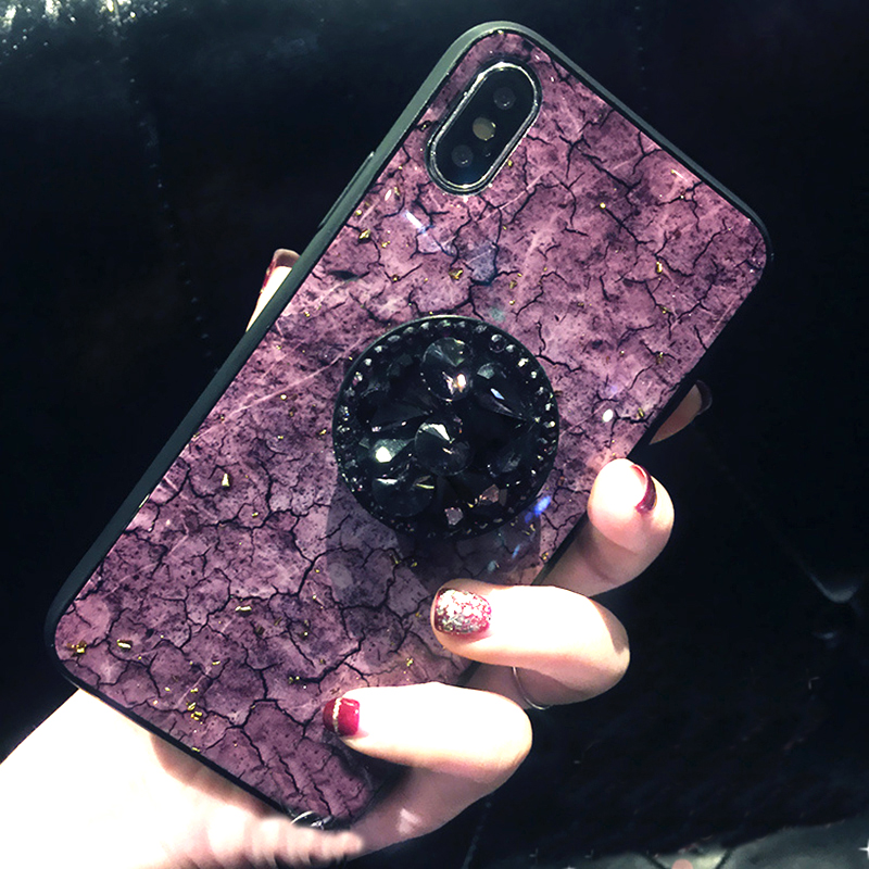 Luxury Diamond Marble Glitter silicon phone case for iphone 7 8 6 6s plus X XR XS MAX holder ring Cover For Samsung S8 S9 Note 9 (3)