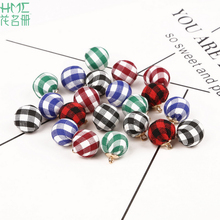 13mm Hot Selling!! Checks Fabric Beads Pendants Fashion DIY Jewelry Charms For Handmade Necklace Earring Present For Girl(China)