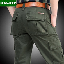 NIANJEEP Brand 100% Cotton High Quality Men Cargo Pants Men's Casual Work Pant Multi Pocket Military Overall Long Trousers 2156