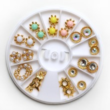 24Pcs Colorful Bead Nail Art Rivet Multicolor Gold Nail Studs Rhinestones 3D Nail Art Decorations Stickers Nails Accesories