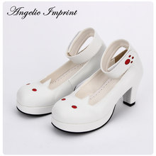 New Arrivals Violet Leather Kawaii Cat Ankle Strap Sweet Lolita Shoes 6.5CM Heel Pumps(China)