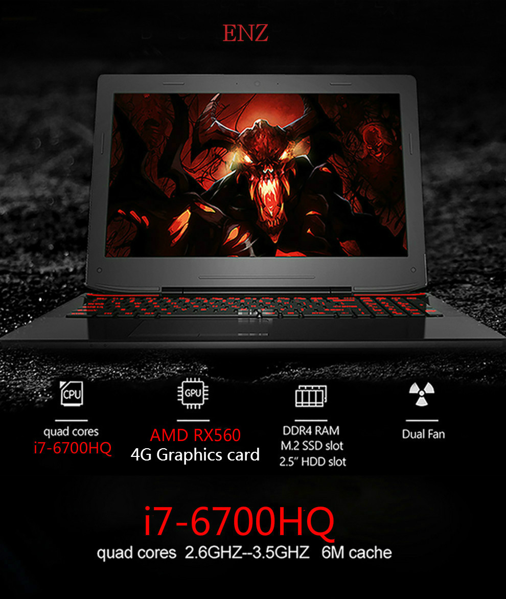 ENZ Gaming Notebooks CPU i7 6700HQ AMD RX560 15.6″ IPS FHD 1920*1080 8GB RAM 32GB SSD 1TB HDD Computer laptops free shipping