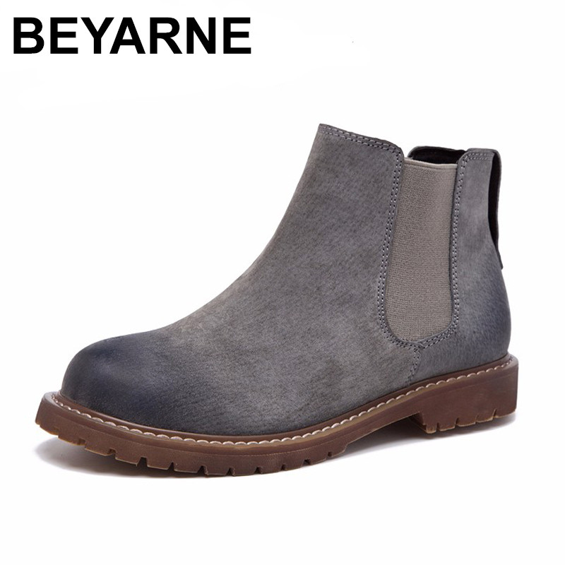 BEYARNE Wipe Color Fashion Womens Boots Autumn / Winter New Pattern Retro Short Boots First Layer Pigskin Flat Femmes Shoes <br>