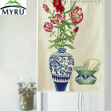 MYRU Classical Chinese Style Blue and White Porcelain Series Door Curtain Household Geomantic Curtain 85x150cm(China)