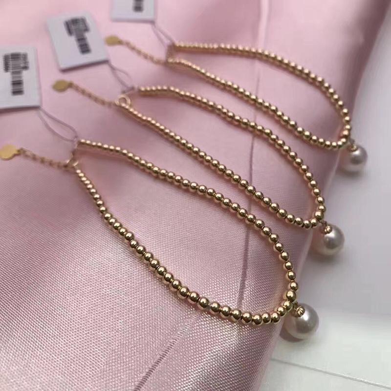 Sinya Natural pearls 18k gold beads strand bracelet for women girls Mom lover length 18cm can adjustable pearl diameter 7-8cm  (2)