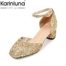 Karinluna 2018 Bling Upper Pink Gold Sliver Black Shoes Sandals Fashion Ol Party Wedding Comfortable Summer Size 32 43