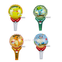 Lucky 50pcs/lot Pokemon Balloon Bulbasaur&Squirtle&Charmander Holding Sticks Foil Balloons Inflatable Party Decorations Globos(China)