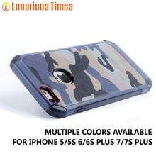 Army Camo Camouflage Pattern case for iPhone SE 5 5S 6 6s plus 7 7s back cover PC Hard + Soft TPU Armor protective phone cases(China)