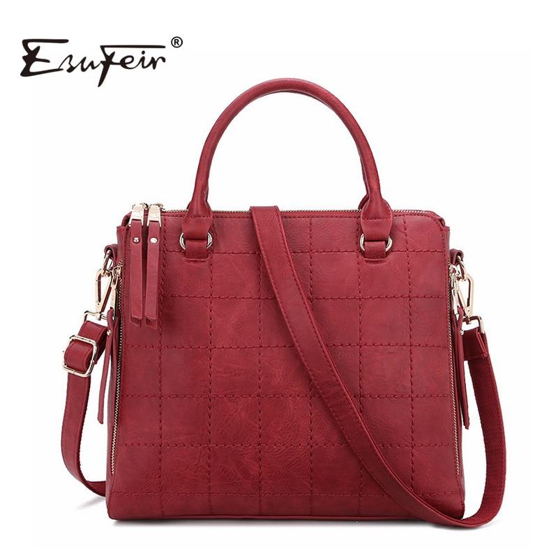 ESUFEIR 2017 Solid Leather Women Handbag Thread Women Shoulder Bag Wine Red Fashion Satchels Bag Vintage Casual Tote sac a main<br><br>Aliexpress