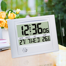 JIMEI H104 Simple Digital LCD Wall Clock Desk Clock With Alarm Snooze Temperature Calender Time Date Weekday for household use