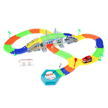 DIY Electric Track Car Racing Track Toy 192PCS Bridge Railway Racing Track Building Slot Sets