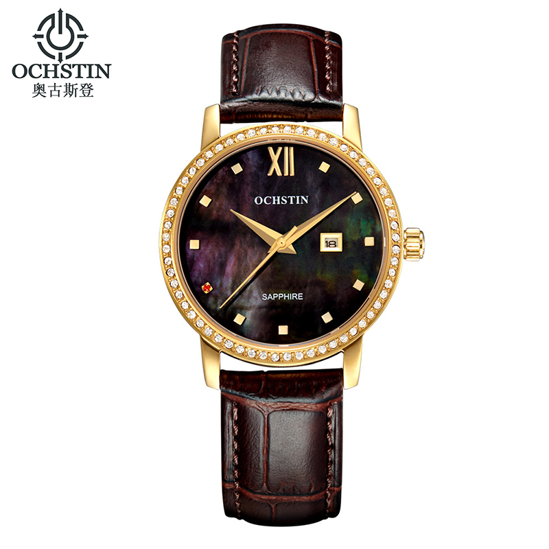 OCHSTIN Women Watch Crystal Diamond Rhinestone Quartz-watch Leather Strap Fashion Casual Wristwatch Sapphire Glass Female Clock<br><br>Aliexpress