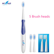 5 Brush heads Sonic Electric Toothbrush for Adult Oral care Waterproof Battery power Soft brush teeth Portable Seago Sg-906(China)