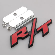 BBQ@FUKA New Auto Car Metal Alloy Red R/T RT Grill Grille Emblem Fit for Dodge Challenger Charger Car Accessory(China)
