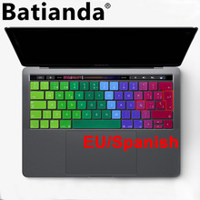 "EU layout Spanish Keyboard Cover Gradient Color Silicone Skin for 2016 MacBook Pro Retina 13"" 15"" with Touch ID and Touch Bar"