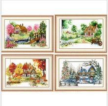 Four Seasons Spring Summer Autumn Winter Scenery Cross Stitch Kits DMC Embroidery DIY Handmade Needlework Wall Home Decoration