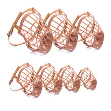 7 Sizes Brown Strong Plastic Dogs Muzzle Basket Design Anti-biting Adjusting PU Straps Mask Anti-Bite Bark Chew Muzzles for dogs