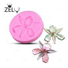 Silicone mould 3D Orchid flower Shape Embossing Fondant Cake Decorating Tools Moulds Sugar Art Tools Kitchen Oven Gadgets