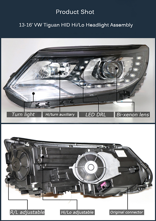 HID Bixenon High Low Beams Headlight Assembly With LED DRLs For VW Tiguan 2013-2016 Car 4