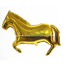 10Pcs/Lot Gold Horse animal balloon Aluminum Foil Balloons Birthday Party Decorations Helium Balloon Inflatables baloes de festa(China)