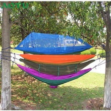 AOTU Fish SunDay 2 Person Parachute Hammock Double Wide Solid Outdoor Sleeping Bags Patio Yard Camping Levert Dropship Feb23