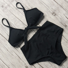 Buy Sexy Swimwear Women High Waist Bikini 2018 Solid Bikini Set Push Swimsuit Tie Front Swimming Suit Halter Bandage Bathing Suit