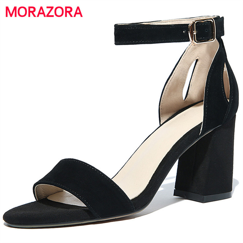 MORAZORA Fashion contracted high heels shoes woman solid buckle women sandals summer shoes party open-toed top quality<br>