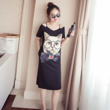 Women Summer Off-shoulder Cartoon T-shirt Dress Cat  Causal Dress