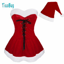 Girls Christmas Costume Dress with Hat G-string Shoulder Straps Cosplay Party Outfit Red Christmas Dress Santa Claus for Ladies