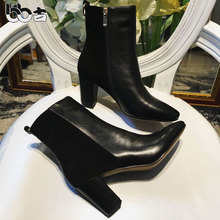 Bb short thick heel boots patchwork high-heeled knee-high boots scrub genuine leather color block decoration boots(China)