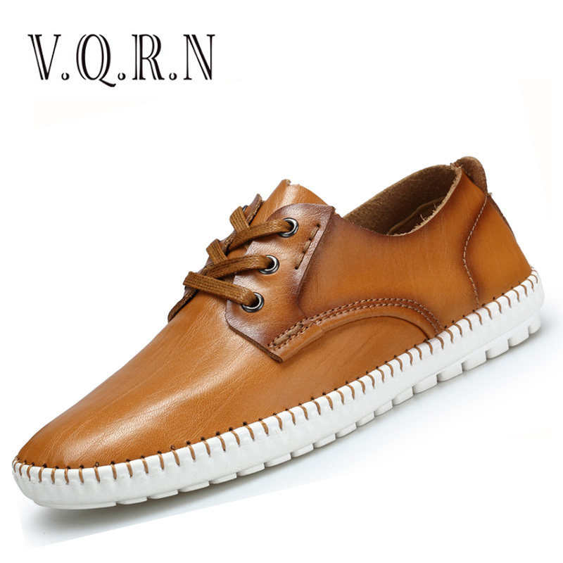VQRN Men Casual Shoes Genuine Leather Shoes Mens Flats Lace Up Platform Shoes Men Moccasins<br>
