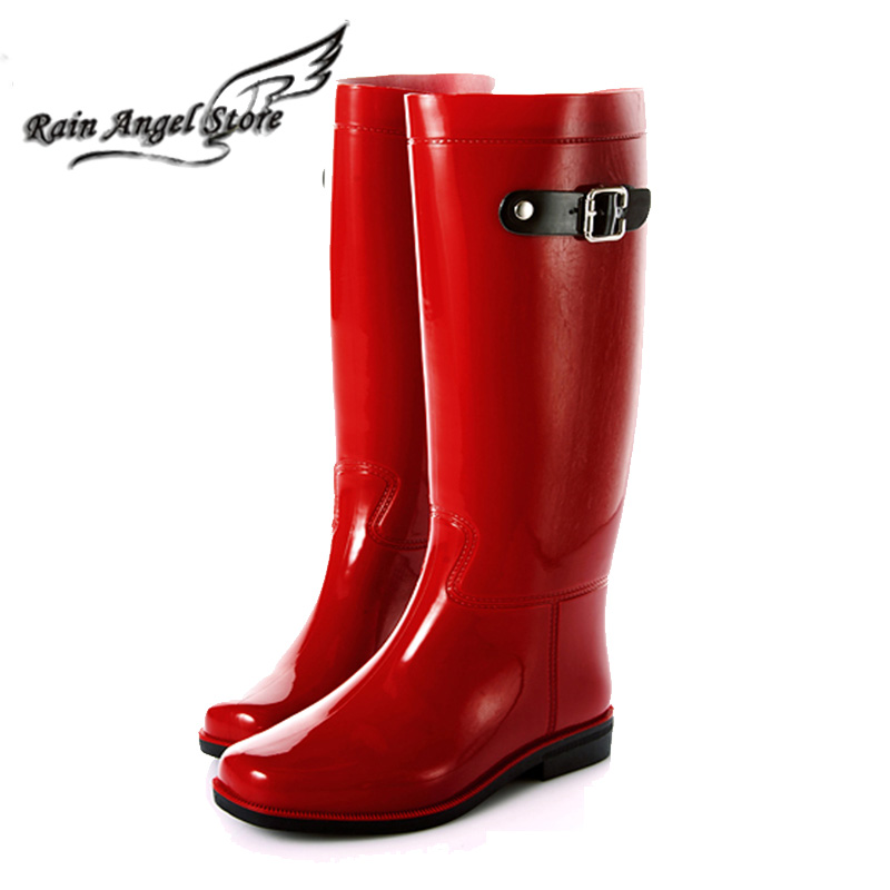 2015 New High Quality Flat Heel PVC Tall Boots Rainboots Water Shoes Rain Shoes For Women Size 36-40 botas femininas<br><br>Aliexpress