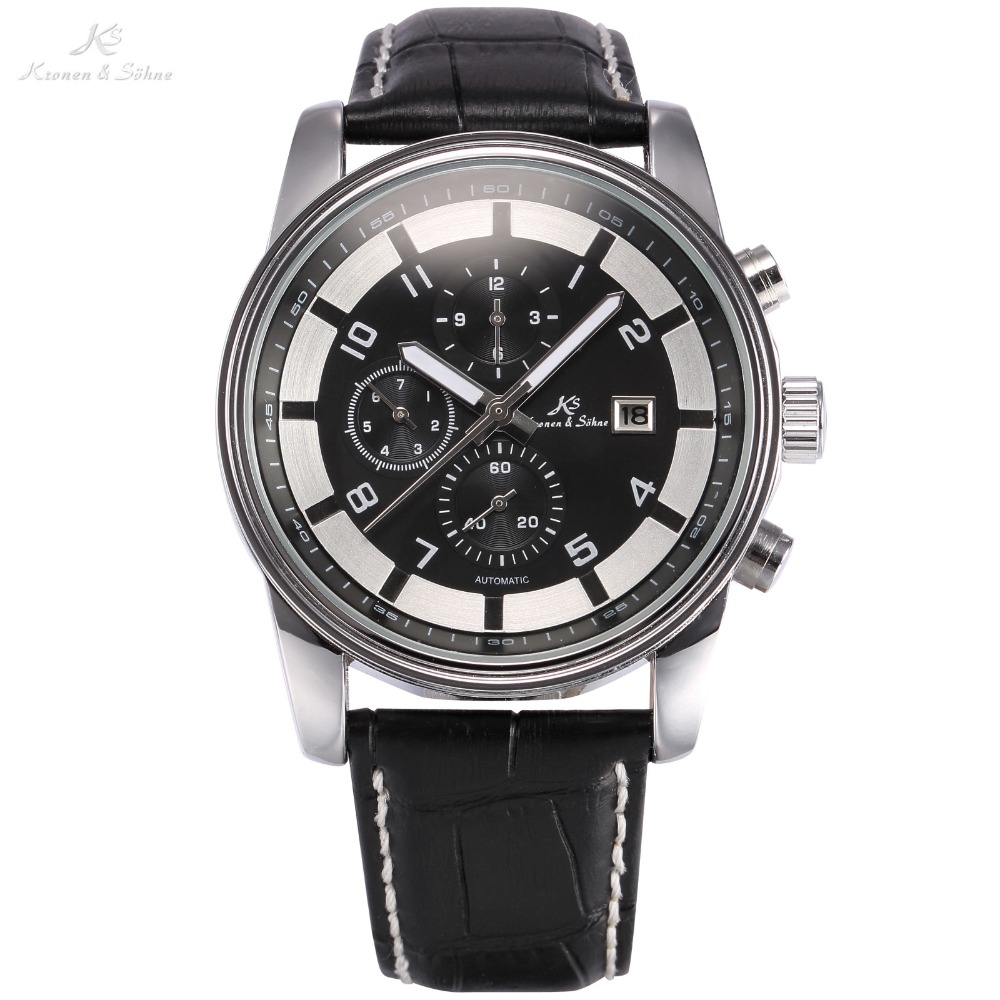 KS Luxury Brand Calendar Display Self Wind Relogio Masculino Leather Band Wristwatch Automatic Mechanical Men Casual Watch/KS179<br>
