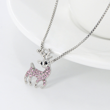 New Fashion Silver Color Christmas Crystal Elk Pendant Necklaces for Women Alloy Fawn Decorate Chokers Necklace Party Jewelry(China)