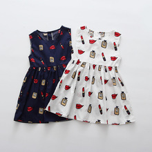 Fashion Summer Girls Dresses 2017 Lipstick Pattern White Navy Sleeveless Cotton Children Dress Sundress Kids Clothes 3-7 years