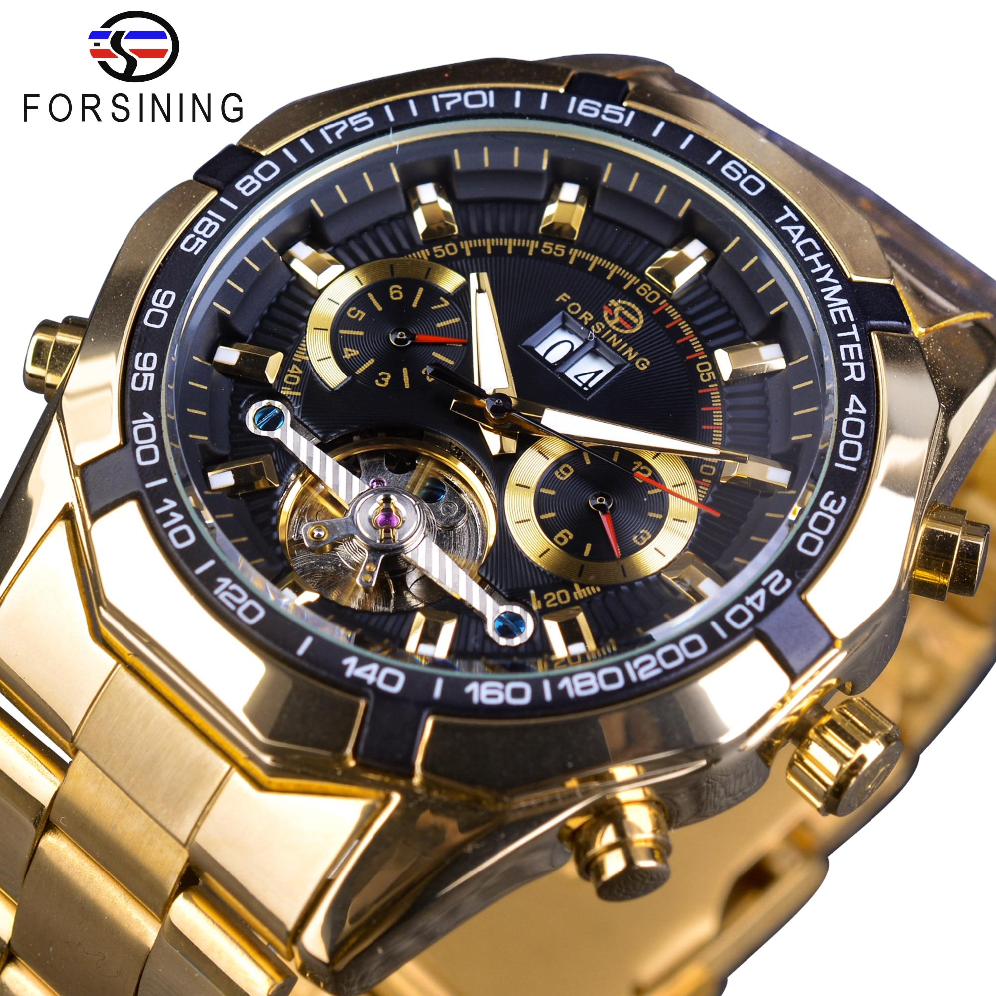 Forsining Mens Mechanical Watch Top Brand Luxury Golden Bracelet Business Watch Calendar Display Black Dial Tourbillion Design<br>