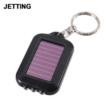 Portable Mini 3 LED Solar Power Flashlight Light Lamp Keychain torch Real Solar Chargable
