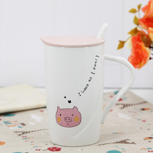 2017 new Chaozhou ceramic mug withlid spoon creative cartoon embossed ceramic mug free shipping(China)