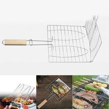 Stainless Steel Camping Grill Rack BBQ Meshes Clip Folder double Fish Meat Hinged Basket Tool Meat Fish BBQ Tool Wooden Handle(China)