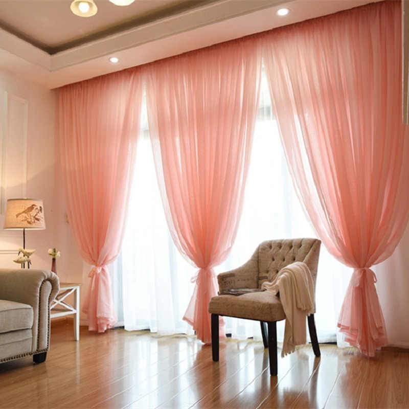 Wedding Ceiling Drapes Solid Pink Sheer Curtains For Living Room Linen Voile Curtain Tulle For Balcony Home Bedroom Hotel 1PCS